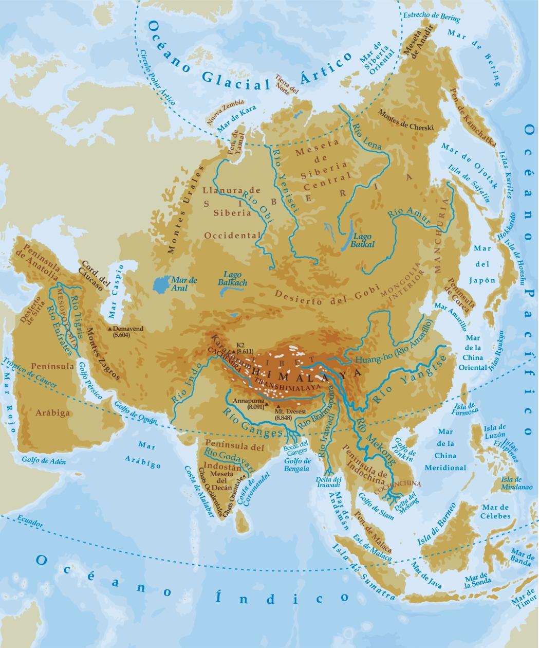 Mapa físico de Asia con los principales ríos, océanos y accidentes geográficos