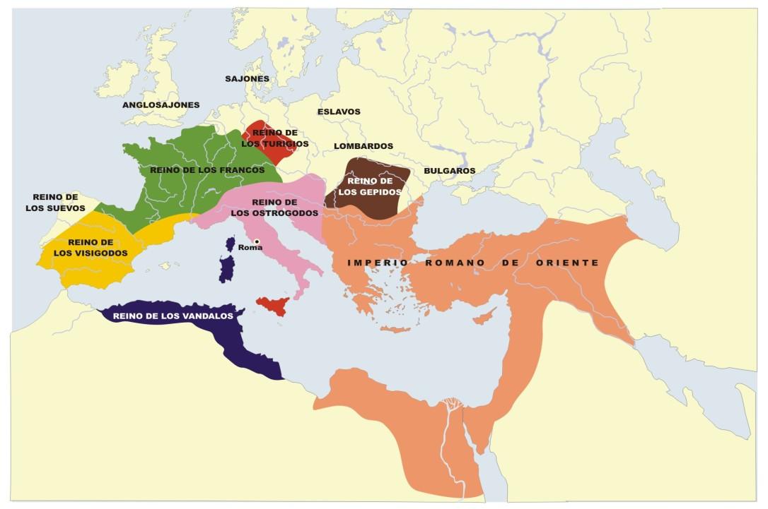 mapa del los reinos germánicos y el imperio romano de oriente