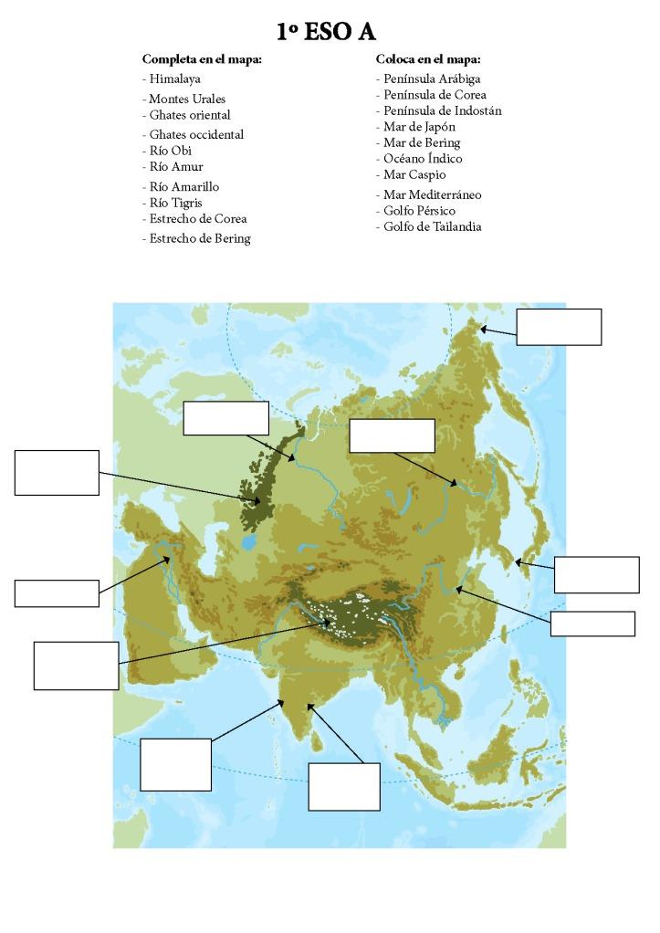 Mapa físico de Asia