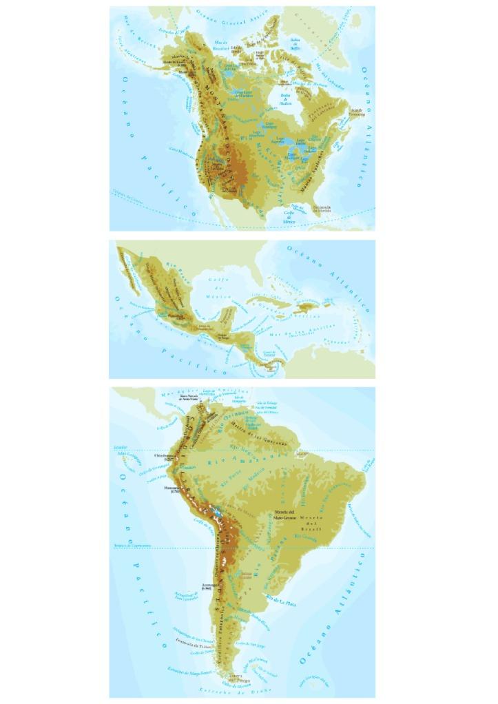 Mapa de América físico,ríos y montañas