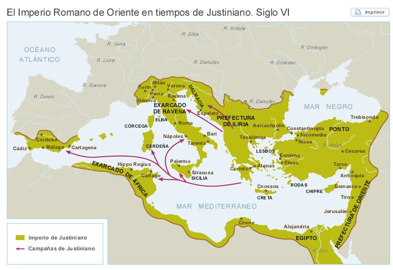 mapa del imperio romano de oriente en tiempos de Justiniano, s. VI