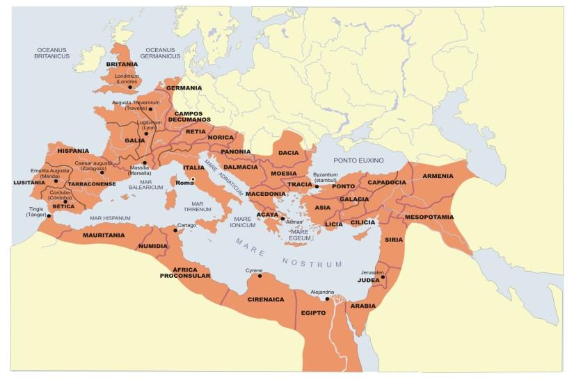 Mapa en el que vemos coloreado el territorio que ocupó la civilización romana durante la República.