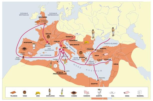 mapa del comercio en el imperio romano