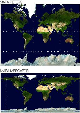 Mapa Peters y Mapa Mercator