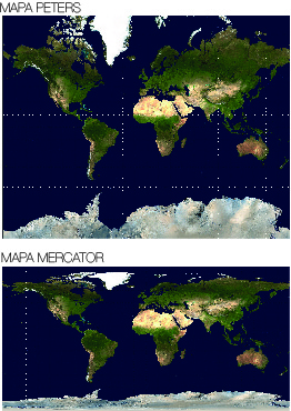 Mapa Peters y Mapa Mercator