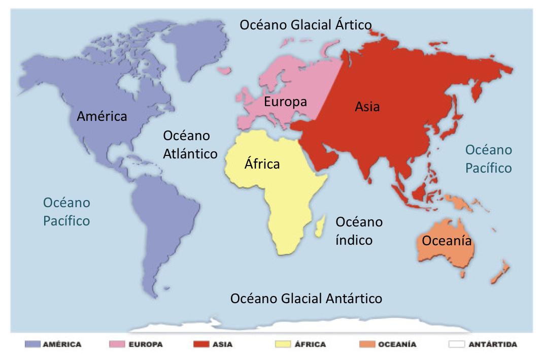 mapa de continentes y océanos