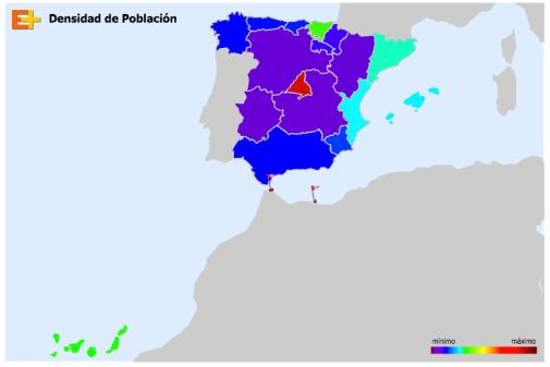 densidad de población en España