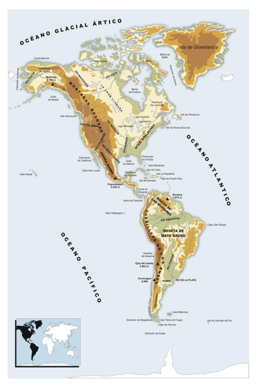 MAPA FISICO DE AMERICA