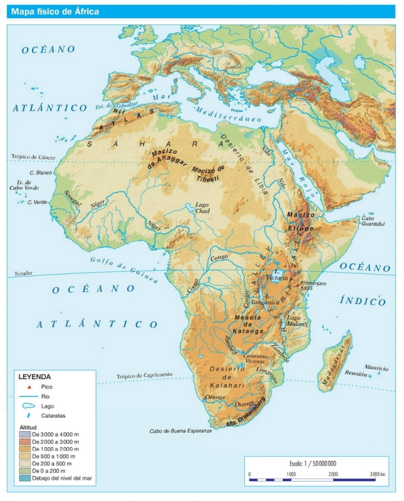 Mapa Africa Fisico Mudo.Mapa Fisico De Africa Aprende Geografia Historia Arte