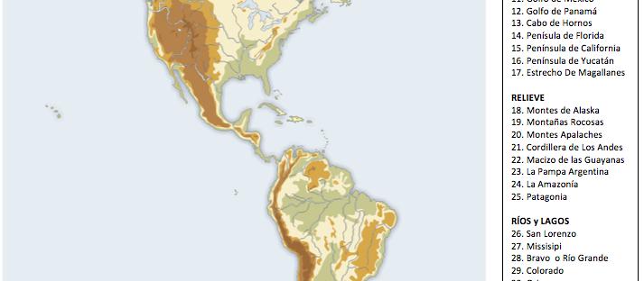 mapa mudo america, mapa fisico america
