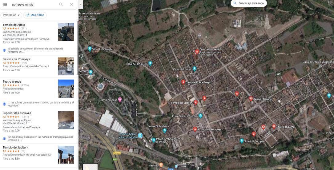 RUINAS DE POMPEYA GOOGLE MAPS